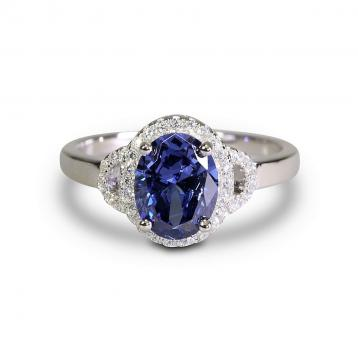 925 Silver Created Tanzanite Ring