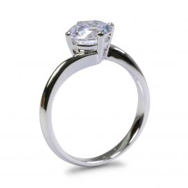 925 Silver 6.50mm Cubic Zirconia Ring