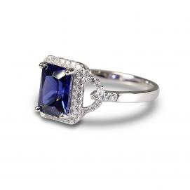 925 Silver Created Blue Sapphire Ring