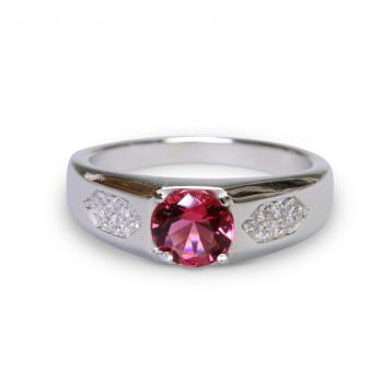 925 Silver Created Ruby Ring