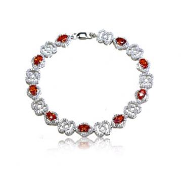 925 Silver Created Colour Stone Bracelet