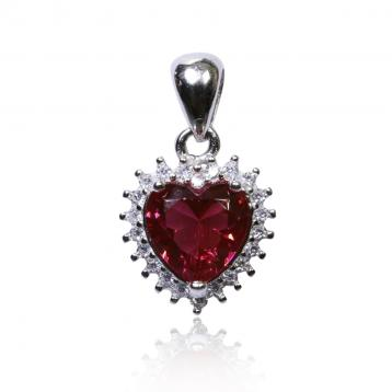 925 Silver Created Ruby Pendant