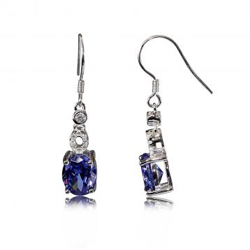 925 Silver Created Colour Stone Earring