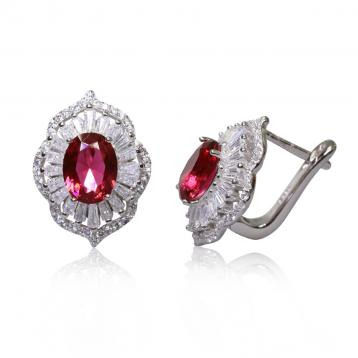 925 Silver Created Ruby Earring