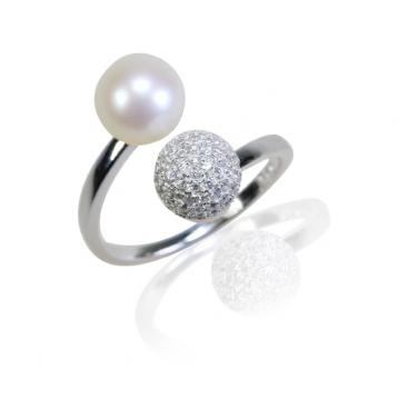 925 silver CZ fresh water pearl ring